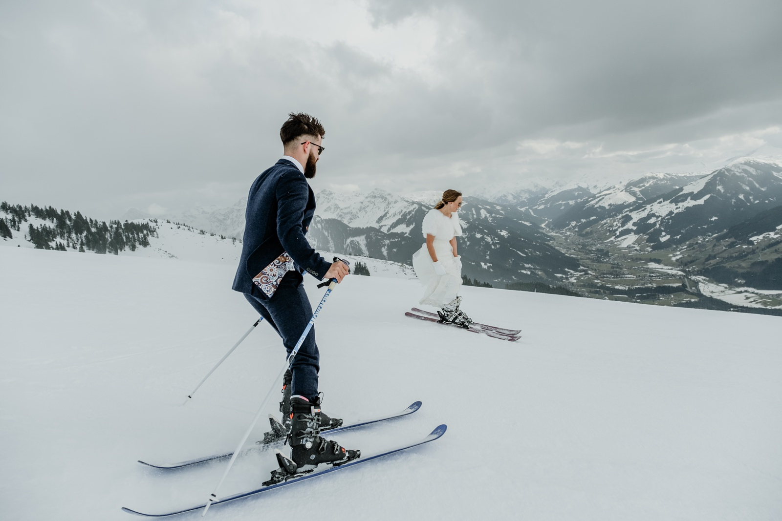 Skiing bride and groom in Austria.