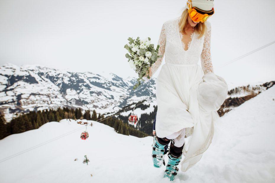Bride in ski boots
